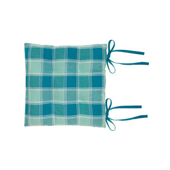 Yarn-dyed, degradé check seat pad in 100% cotton