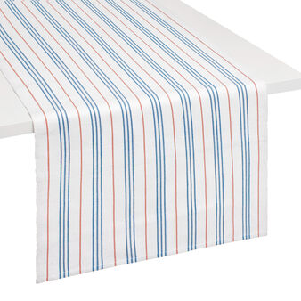 Table runner in 100% cotton with striped ribbing