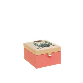 Square fabric trinket box with owl print