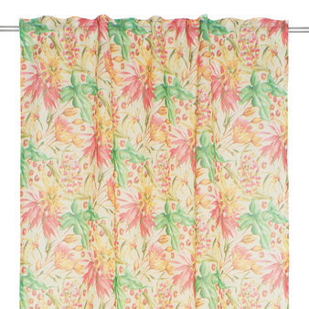 Linen blend curtain with floral print