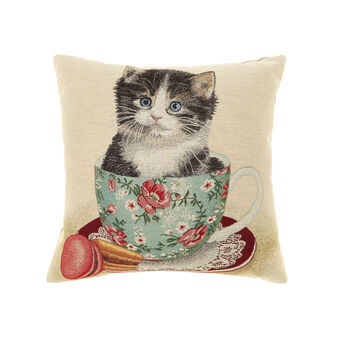 Gobelin cushion with cat in a cup pattern