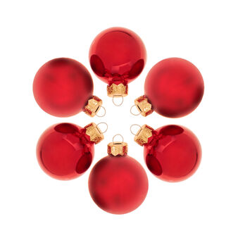 Set of 12 Christmas baubles in red glass D 5cm