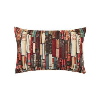 Gobelin rectangular cushion with books pattern