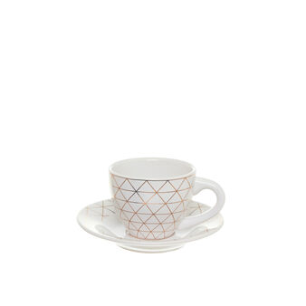 Ceramic tea cup with geometric decoration