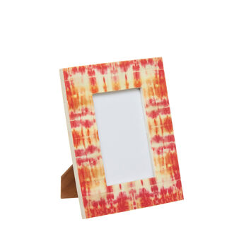 Patterned bone photo frame.
