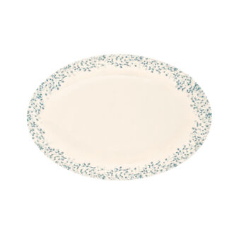 Ceramic oval dish with small leaves decoration