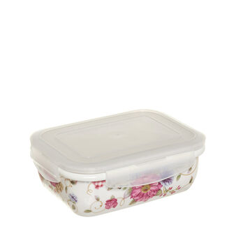 Rectangular bone china container with lid
