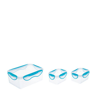 Set of 3 rectangular plastic containers with lid