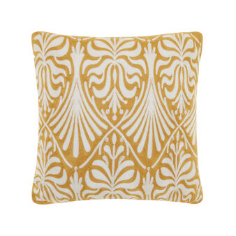 Cushion with contrasting chain-stitch embroidery