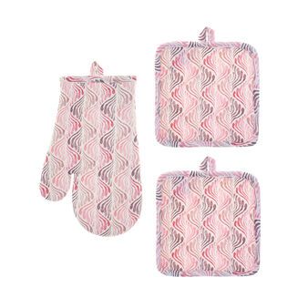 Set of 2 pot holders and oven mitt with fan motif print