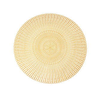 Round table mat in gold plastic