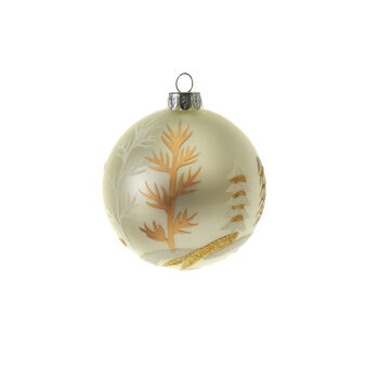 White glass bauble with glitter forest D 8cm