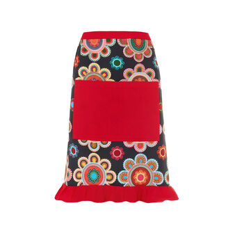Half apron with frills and Gipsy Flower print