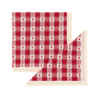 Set of two 100% cotton napkins with check jacquard weave