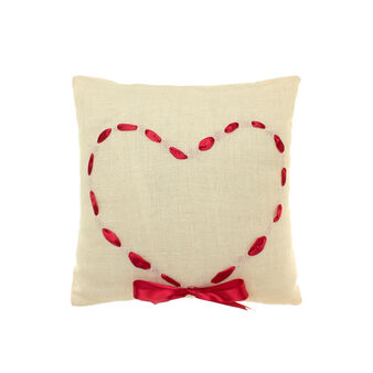 Jute cushion with heart ribbon