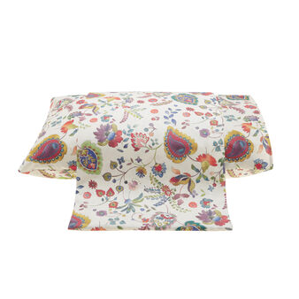 Percale flat sheet with digital floral print