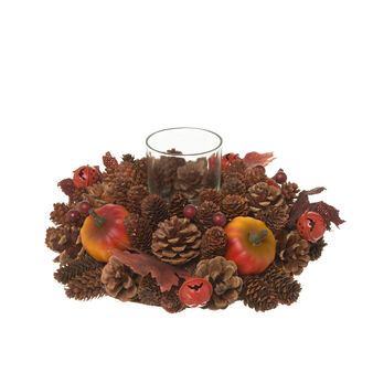 Glass candle holder with pumpkins, leaves and pine cones