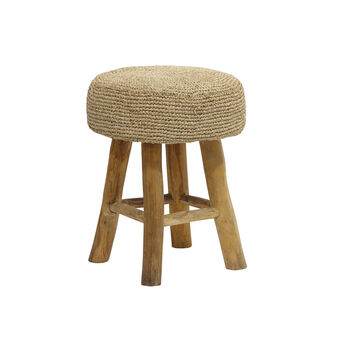 Raffia and teak root stool