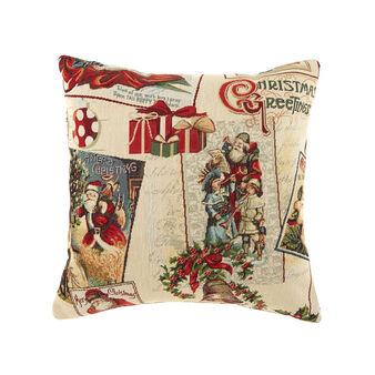 Gobelin cushion with Christmas greetings pattern