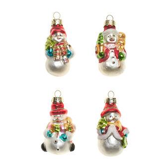 Set 4 decorazioni natalizie pupazzo neve vetro