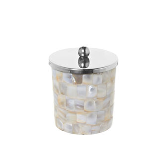 Mother-of-pearl mosaic cotton wool container