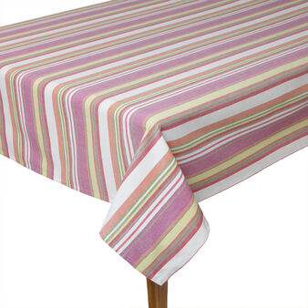 Multicoloured striped table cloth