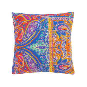 Cotton percale cushion with foulard print