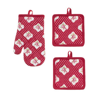 Set of 2 Rose and Polka Dot pot holders and oven mitt