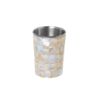 Mother-of-pearl mosaic toothbrush holder