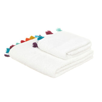 100% cotton towel with coloured tassels