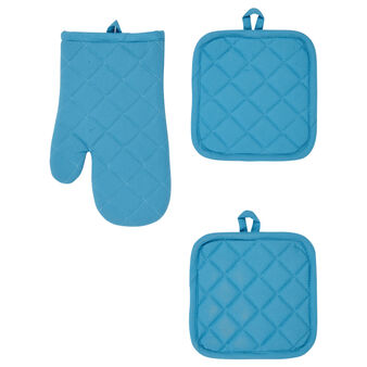 Set of 2 pot holders and oven mitt in 100% cotton