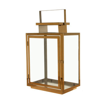 Lantern in gold-coloured metal and glass