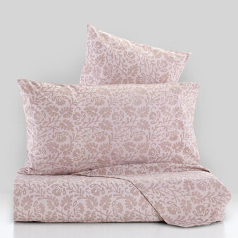 Percale duvet cover set with hand-printed leaves