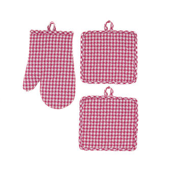 Patterned oven mitt and pot holder in yarn-dyed 100% cotton