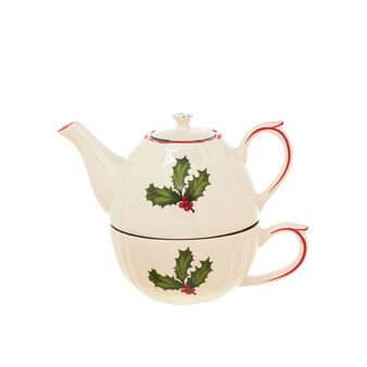Tea for one in ceramic with holly decoration