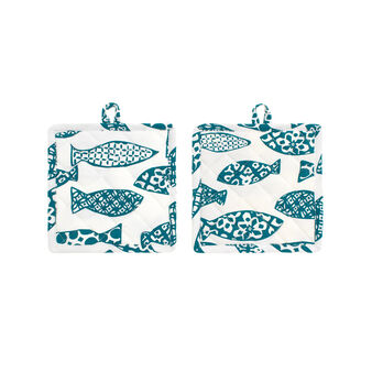 Two-pack pot holders in 100% cotton with fish