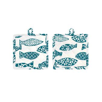 Set due presine puro cotone pesci