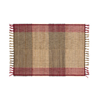 Check table mat in 100% cotton and abaca