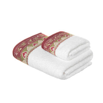 Set consisting of solid colour face towel and guest towel in 100% cotton terry with embroidery
