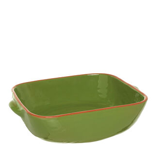 Square Portuguese ceramic oven dish with edging