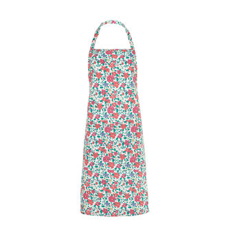 Bib apron in cotton with flowers print