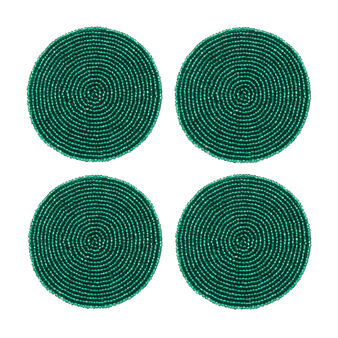 Set of 4 drinks coasters with beads