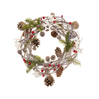 Wreath with balsa stars and pine cones, D 28 cm