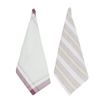 2-pack yarn-dyed tea towels solid colour and striped