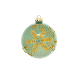 Green glass bauble with leaf motif d 10cm
