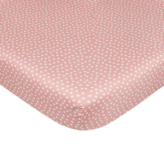 Fitted sheet in cotton percale with star pattern