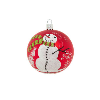 Father Christmas glass bauble with glitter