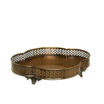 Tray in distressed-effect brass