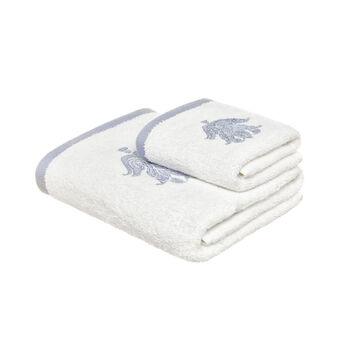 Set 2 asciugamani in puro cotone con ricamo