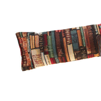 Draught excluder covered in gobelin with bookshelf pattern